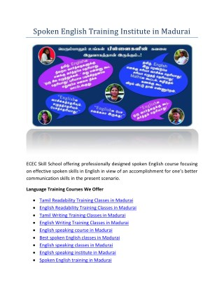 PPT - Spoken English Training Institute in Madurai PowerPoint