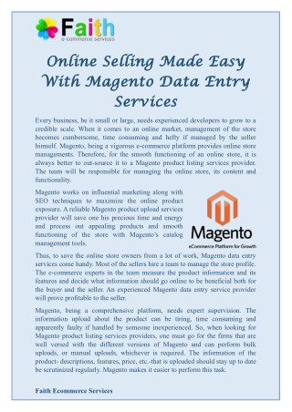 Online Selling Made Easy With Magento Data Entry Services