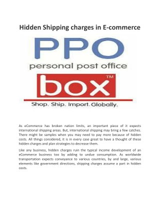 Hidden Shipping charges in E-commerce
