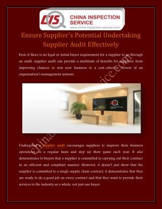 Ensure Supplier's Potential Undertaking Supplier Audit Effectively