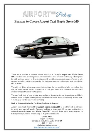 Reasons to Choose Airport Taxi Maple Grove MN
