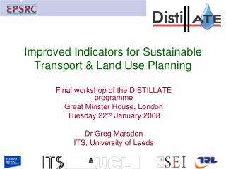 Improved Indicators for Sustainable Transport & Land Use Planning