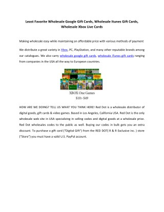 Least Favorite Wholesale Google Gift Cards, Wholesale Itunes Gift Cards, Wholesale Xbox Live Cards