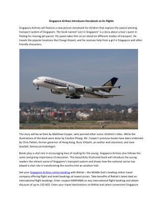Singapore Airlines Introduces Storybook on its Flights