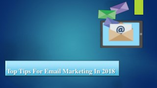 Top tips for email marketing in 2018
