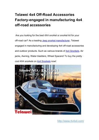 Telawei 4x4 Off-Road Accessories Factory-engaged in manufacturing 4x4 off-road accessories