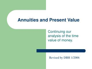 Annuities and Present Value