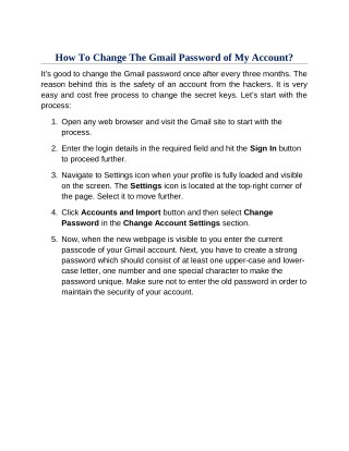 How To Change The Gmail Password of My Account?