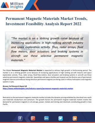 Permanent Magnetic Materials Market - Industry Analysis, Size, Share, Growth, Trends, and Forecasts 2022