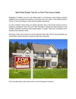 Best Real Estate Tips for a First-Time Home Seller