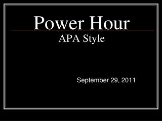 Power Hour APA Style