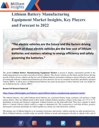 Lithium Battery Manufacturing Equipment Market Insights, Key Players and Forecast to 2022