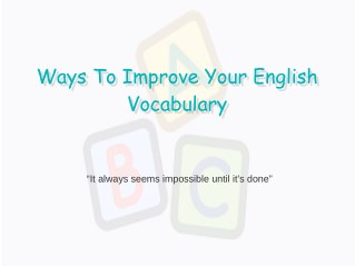 Ways To Improve Your English Vocabulary