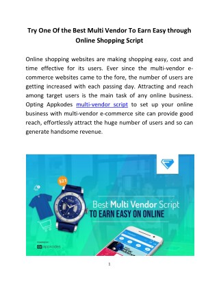 Try One Of the Best Multi Vendor To Earn Easy through Online Shopping Script