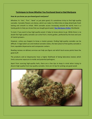 Techniques to Know Whether You Purchased Good or Bad Marijuana