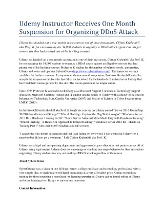 Udemy Instructor Receives One Month Suspension for Organizing DDoS Attack