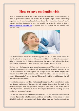 How to save on dentist visit
