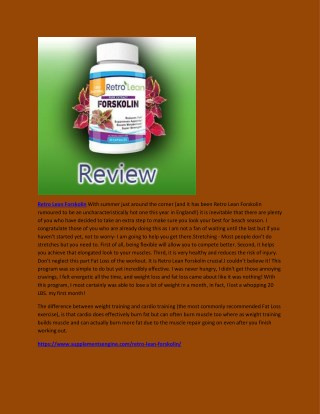 Retro Lean Forskolin - Surprising Benefits For Weight Loss Supplement