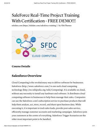 Accelerate Your Career With SalesForce Online Training at TekSlate
