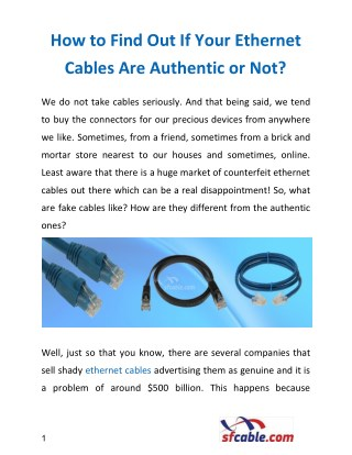 How to Find Out If Your Ethernet Cables Are Authentic or Not?