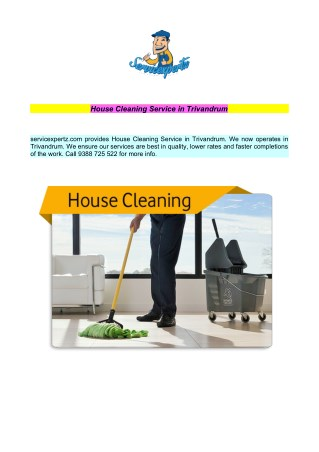 House Cleaning Service in Trivandrum