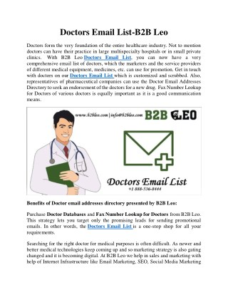 Doctors Email List | Doctor Email Addresses Directory | Doctor Email Addresses