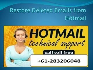 Restore Deleted Emails from Hotmail
