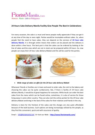 24 hours cake delivery manila