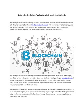 Enterprise Blockchain Applications In Hyperledger Malaysia