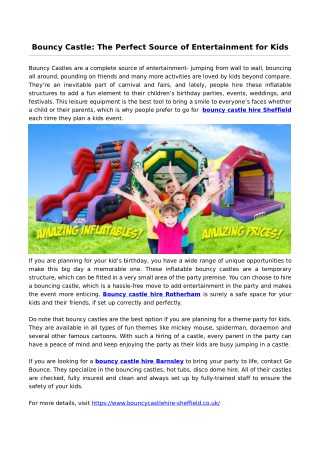Bouncy Castle: The Perfect Source of Entertainment for Kids