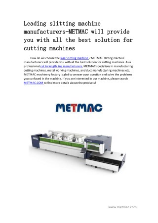 METMAC will provide you with all the best solution for cutting machines
