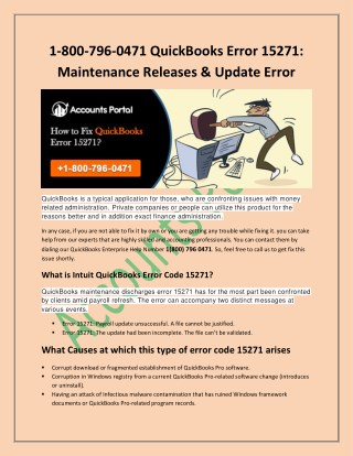 1-800-796-0471 QuickBooks Error 15271 - Maintenance Releases & Update Error