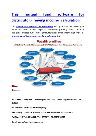 This mutual fund software for distributors having income calculation