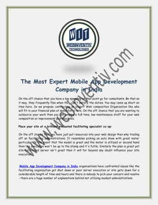 The Most Expert Mobile App Development Company in India