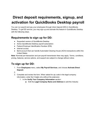 QuickBooks Direct Deposit - Online Payroll - Direct Deposit FAQ's by PosTechie