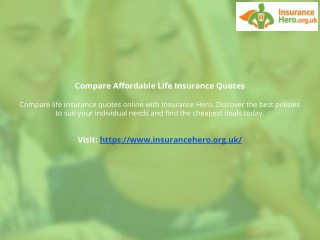 Compare Affordable Life Insurance Quotes