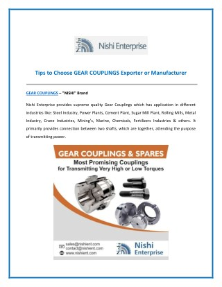 Specifications of Gear Couplings Provided by Gear Coupling Exporters