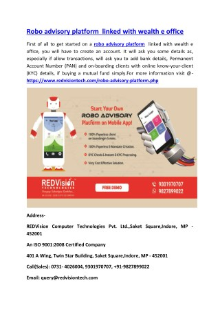 Robo advisory platform  linked with wealth e office