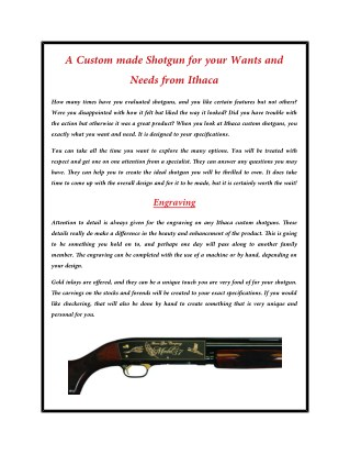 A Custom made Shotgun for your Wants and Needs from Ithaca