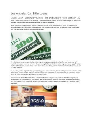 Quick cash funding LA