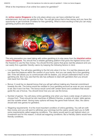 What is the importance of an online live casino for gamblers?