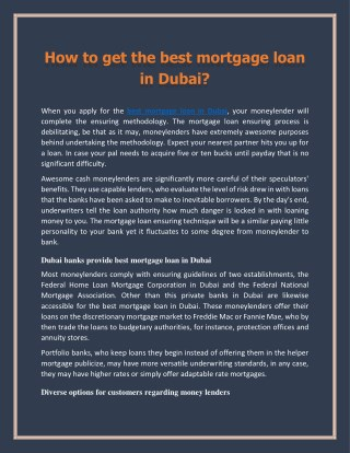 How to get the best mortgage loan in Dubai?