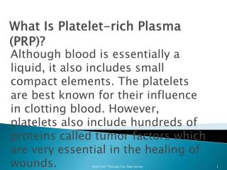 What is Platelet Rich Plasma Therapy