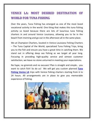 VENICE LA: MOST DESIRED DESTINATION OF WORLD FOR TUNA FISHING