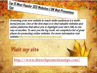 Top 15 Most Popular SEO Websites DM Web Promotions Tips