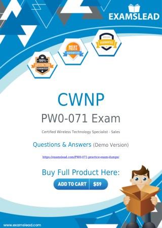 Get Best PW0-071 Exam BrainDumps - CWNP PW0-071 PDF