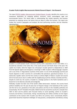 Ecuador Pestle Insights Macroeconomic Market Statistics-Ken Research