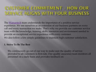 Customer Commitment – How Our Service Aligns With Your Business