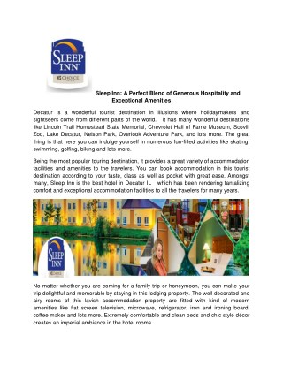Sleep Inn A Perfect Blend of Generous Hospitality and Exceptional Amenities