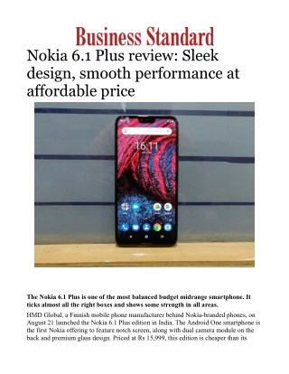 Nokia 6.1 Plus review: Sleek design, smooth performance at affordable price